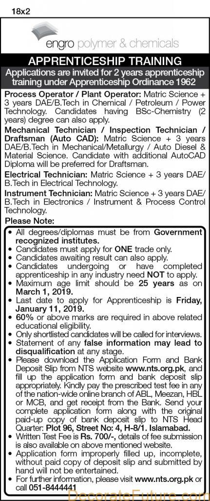 Engro Polymer and Chemicals Apprenticeship Training 2019
