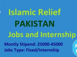 Islamic Relief Jobs and Internship For Pakistan 2019