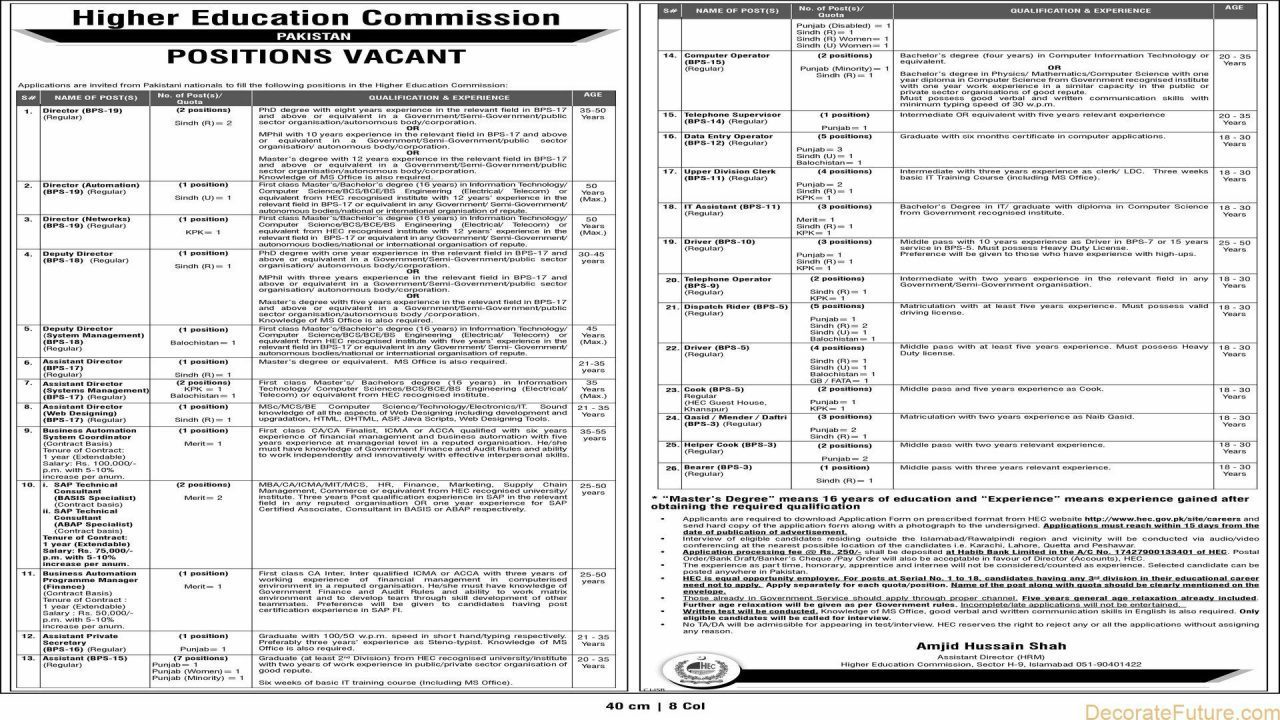 Higher Education Commission Pakistan Jobs 2018