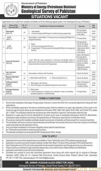 Ministry Of Energy (Petroleum Division)  Of Pakistan JOBS 2019 AD