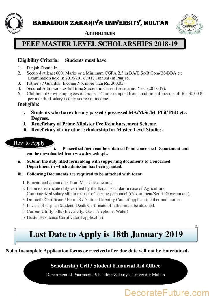 PEEF Master Level Scholarships 2019