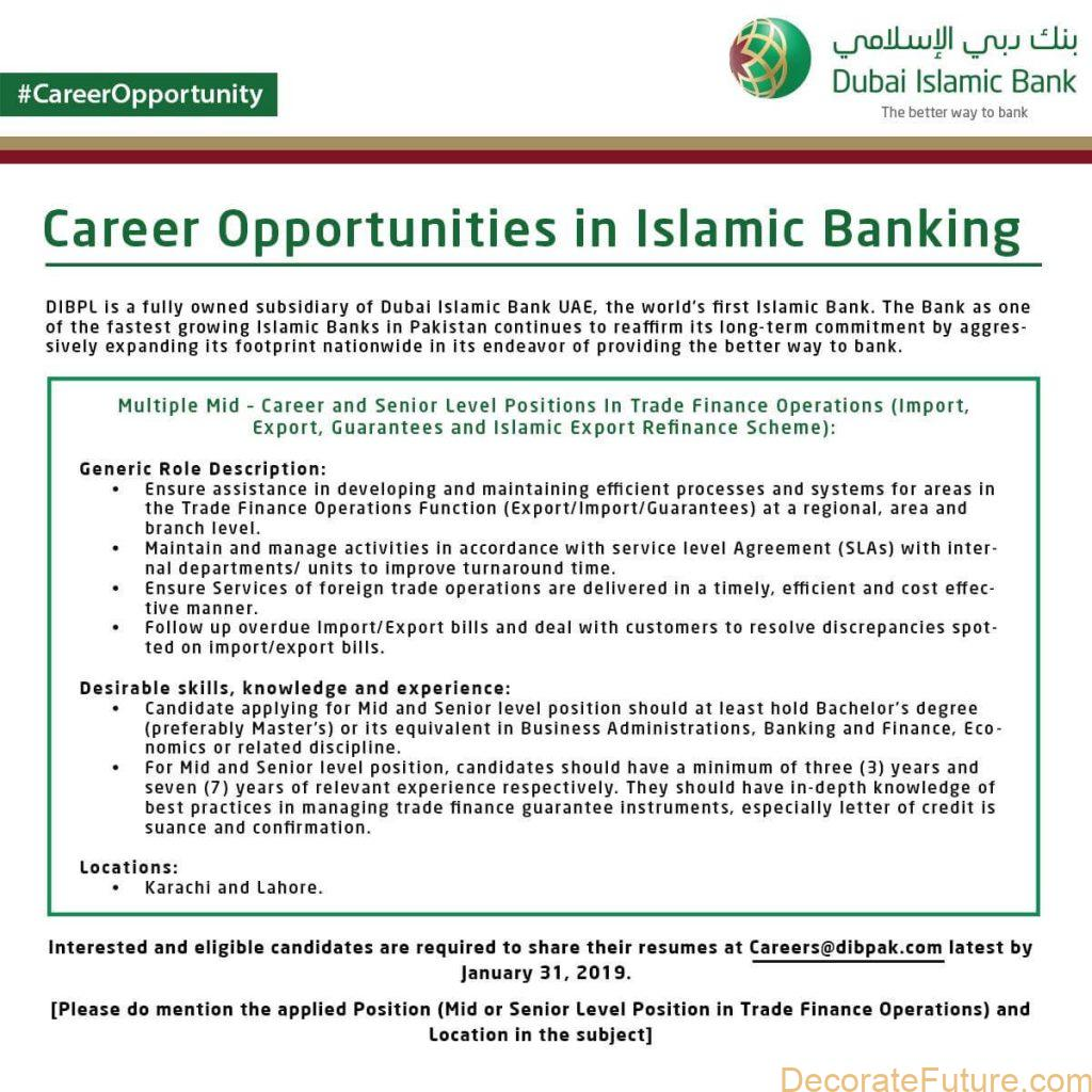 Dubai Islamic Bank Multiple Jobs Opportunity 2019