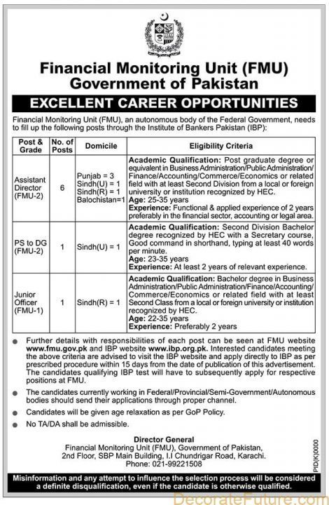 Career opportunities in Financial Monitoring Unit (FMU)