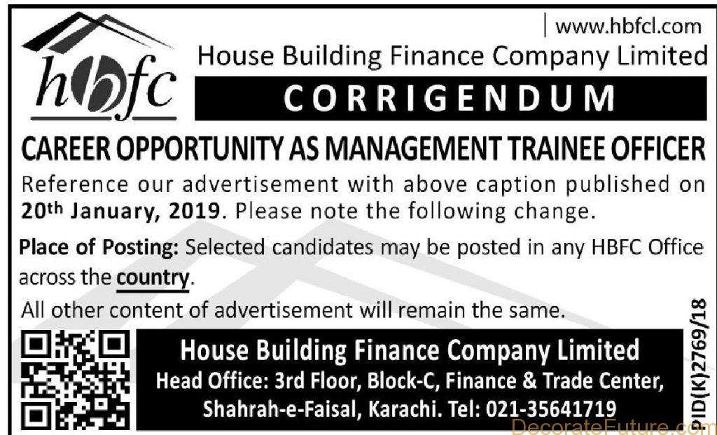 HBFC Management Trainee Officer