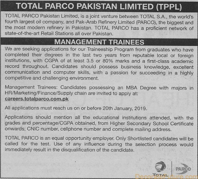 Total Parco Pakistan Limited  Management Trainee Program 2019