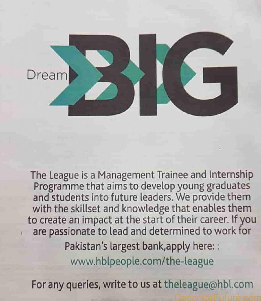 HBL Management Trainee Program 2019 the league