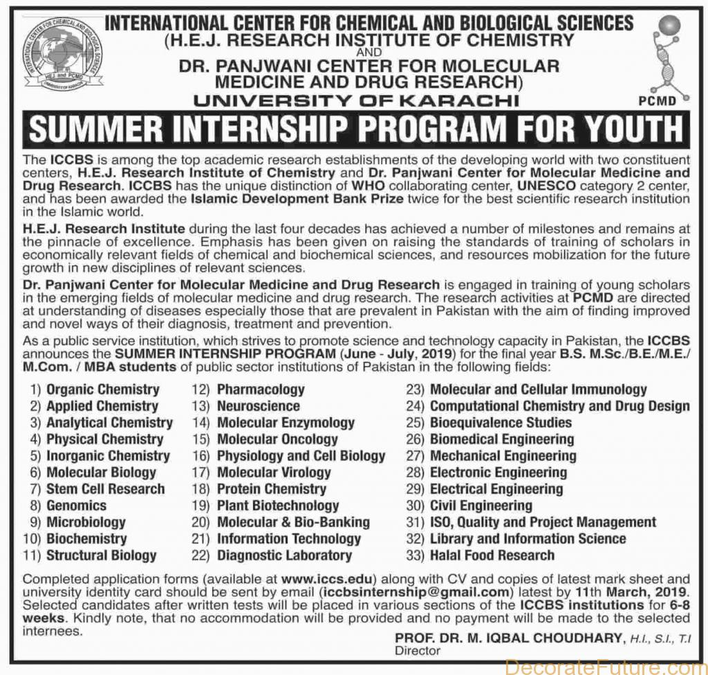 ICCBS Summer Internship Program For Youth 2019