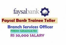Faysal Bank Trainee Teller Branch Services Officer 2019