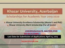 Khazar University Azerbaijan Excellence and Merit Scholarship 2019