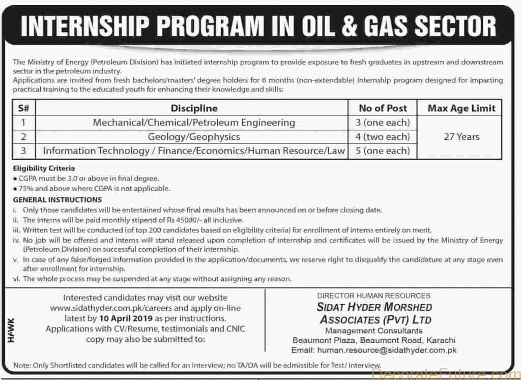 Ministry of Energy Internship Program 2019 - Rs 45000 Salary