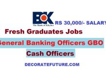 Bank of Khyber General Banking Officers GBO & Cash Officers Jobs 2019