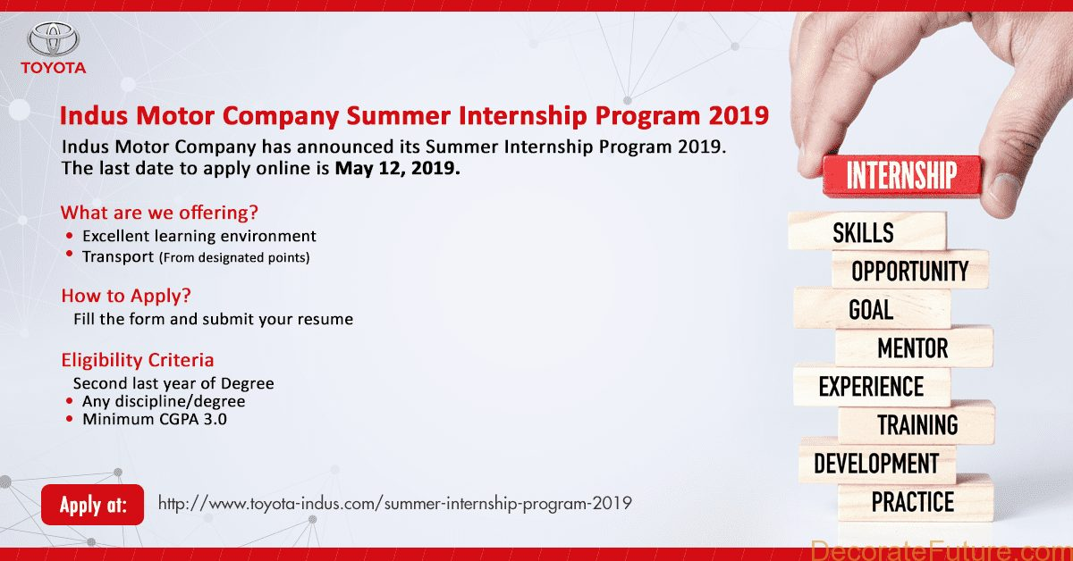 Toyota Indus Motor Summer Internship Program 2019