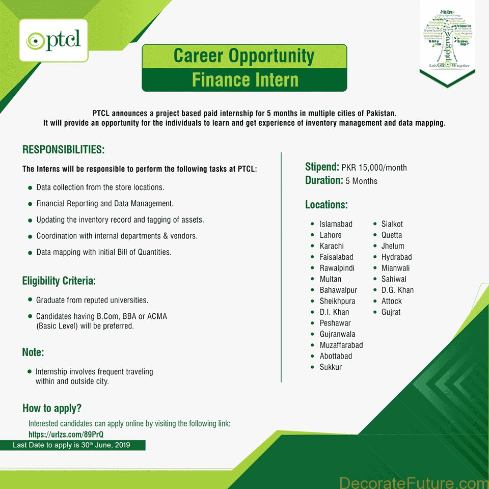 Ptcl internship in Pakistan june 2019